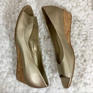 Cole Haan Gold Peep Toe Wedges